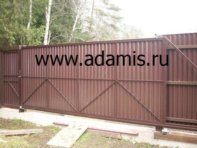 Откатные ворота на винтовых сваях в Михнево